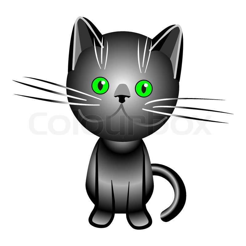 800x800 Black British Cat With Green Eyes, Stock Vector Colourbox