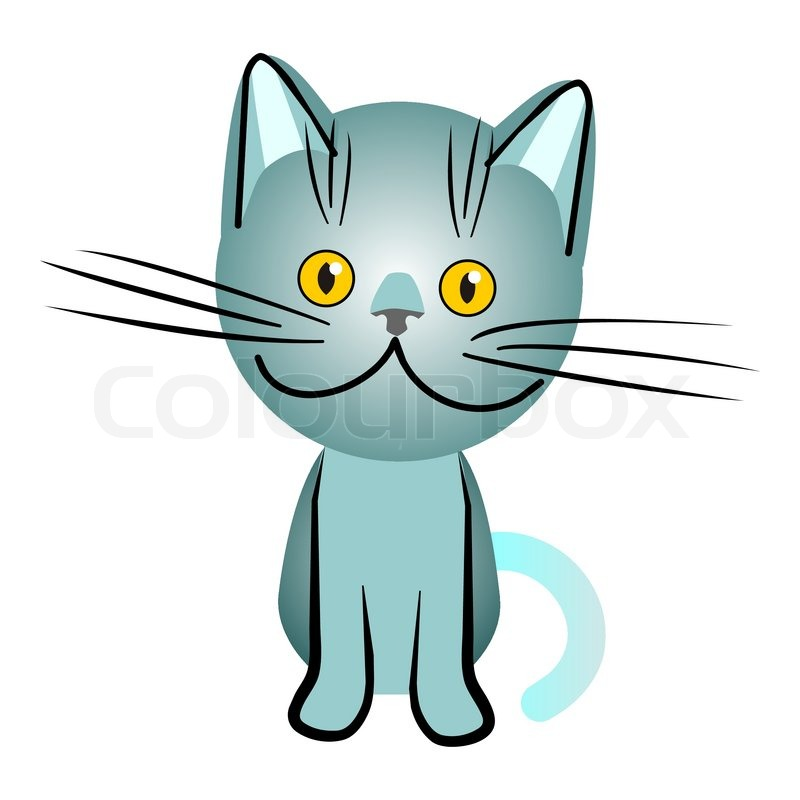 800x800 Blue British Cat With Orange Eyes, Stock Vector Colourbox