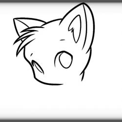 250x250 Cat Face Drawing A For Halloween Art Clipart Simple Outline Images