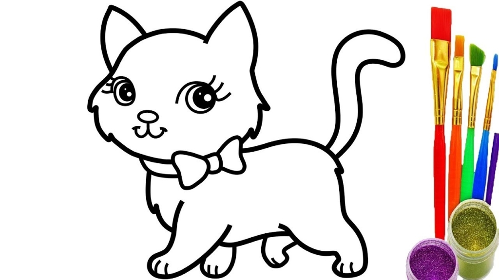 1024x576 How To Draw A Cat Youtube Coloring Pages Videos For Kids