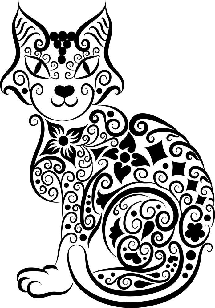 698x1000 Cat Vector Line Art Amee House