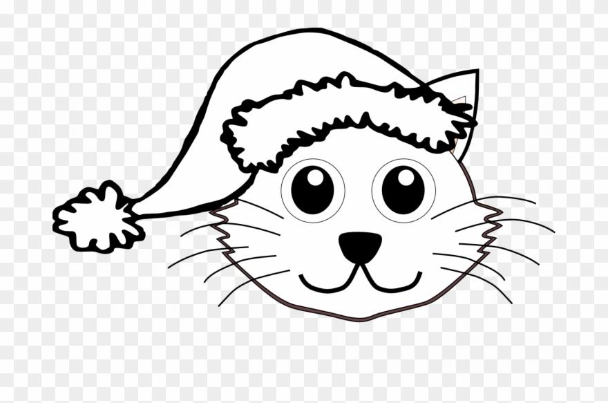 880x583 Christmas Cat Coloring Pages Santa Face Clip Art Black
