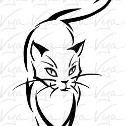 250x250 Christmas Cat Line Drawing Cute Black And White Cartoon Carmi