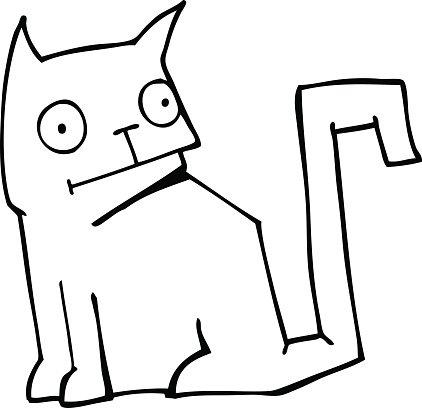 422x408 Line Drawing Cartoon Cat Premium Clipart