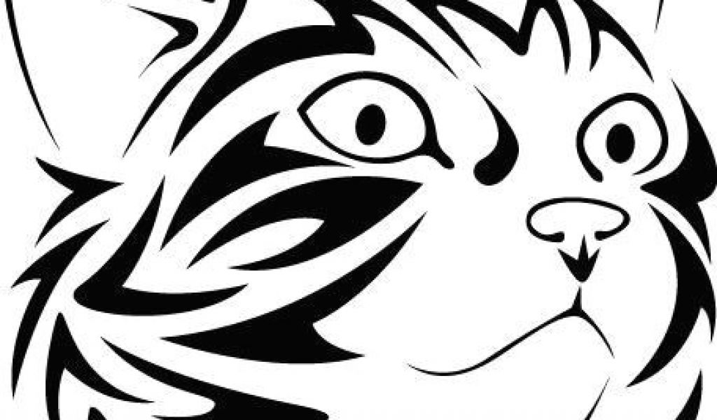 1024x600 Line Drawing Of A Cat Head Tribal Cat Face Looking Right Vinyl