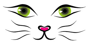300x151 Vector Line Drawing Cat Face