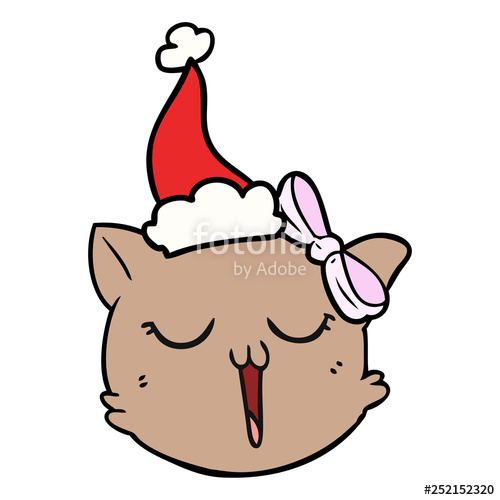 500x500 Line Drawing Of A Cat Face Wearing Santa Hat Stock Image