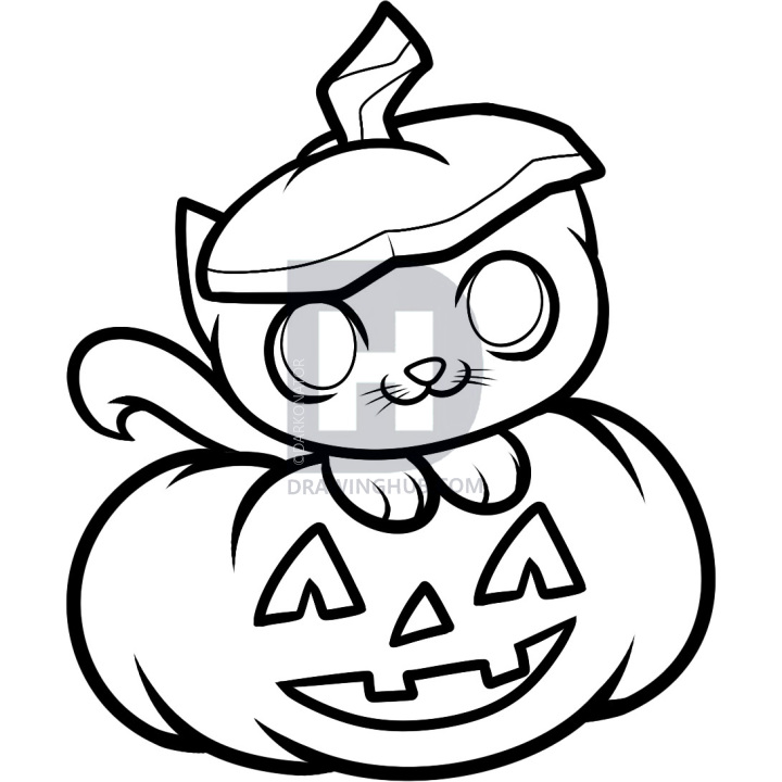 720x720 how to draw a halloween cat, halloween cat, step