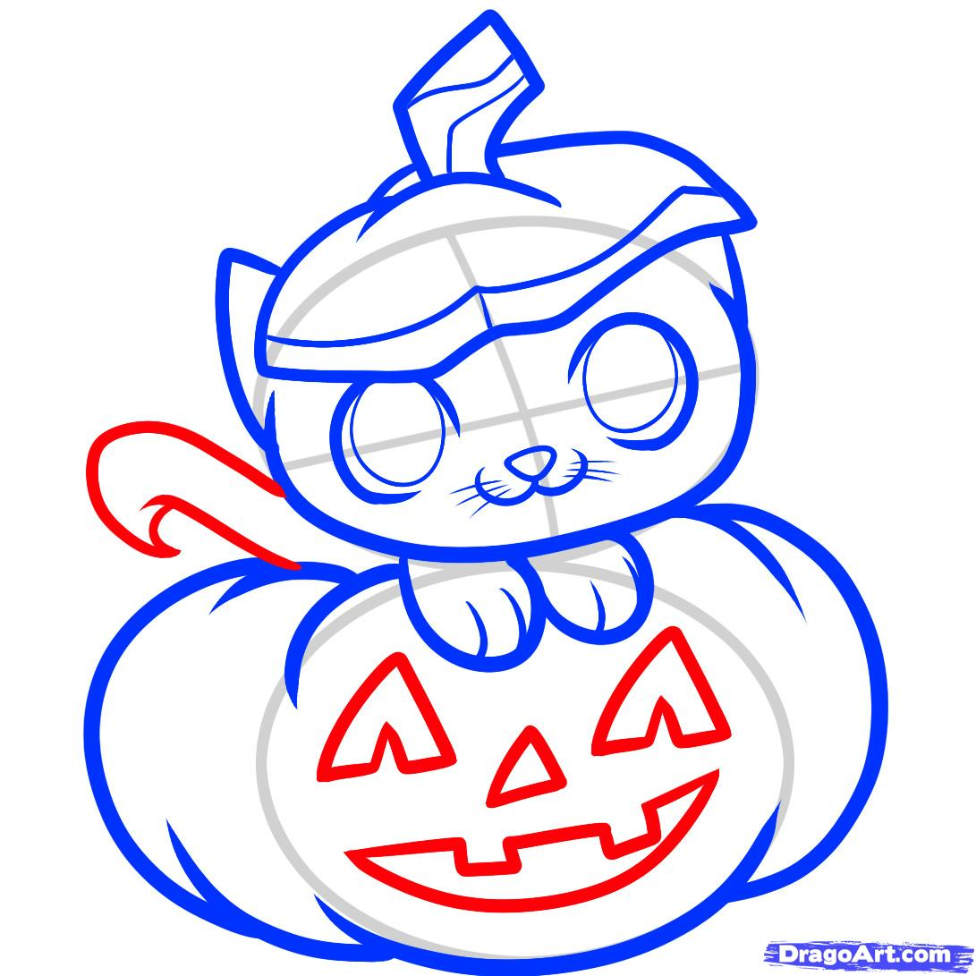 1091x1091 step how to draw a halloween cat, halloween cat