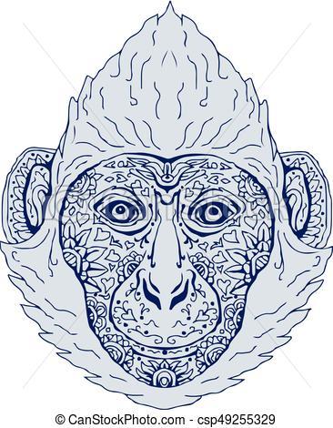 366x470 Cat Ba Langur Head Mandala Illustration Of A Cat Ba Langur Head