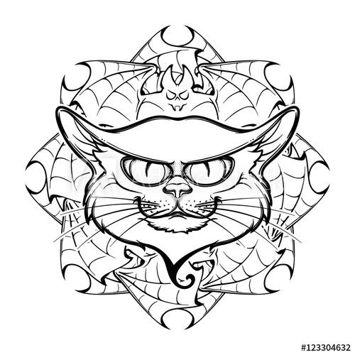 500x500 Halloween Illustration With Black Cat Head On Circular Ornament