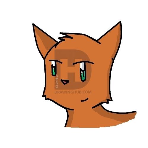 500x500 How To Draw A Cartoon Cat Head, Step
