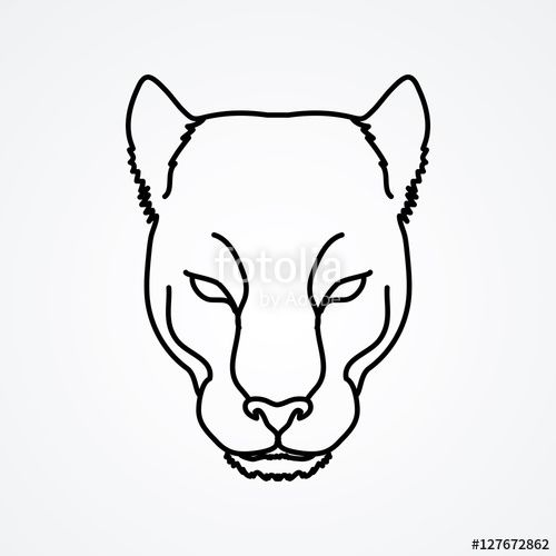 500x500 Vector Black Panther Head Outline Graphic Vector School Ideas