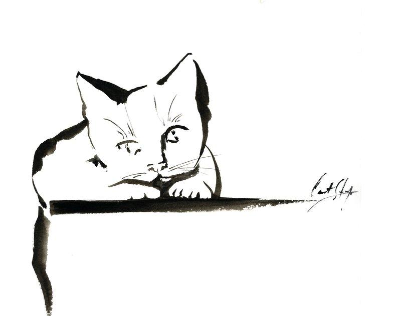 794x631 cat ink drawing original ink drawing of cat minimalist black etsy
