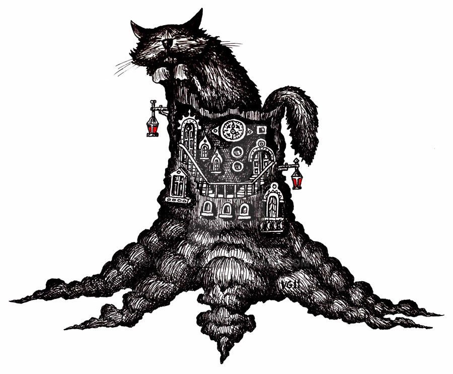 900x742 Cat On Stump Surreal Pen Ink Drawing