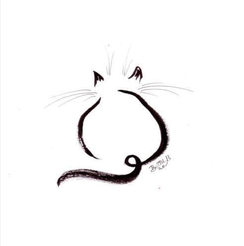 493x498 Dessin Original Chat Encre Ink Drawing Cat Painting Peinture