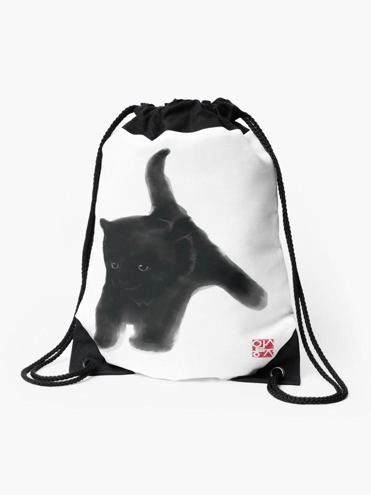 750x1000 Sweet Black Kitty Card, Sumi E Painting Illustration Asian Cat