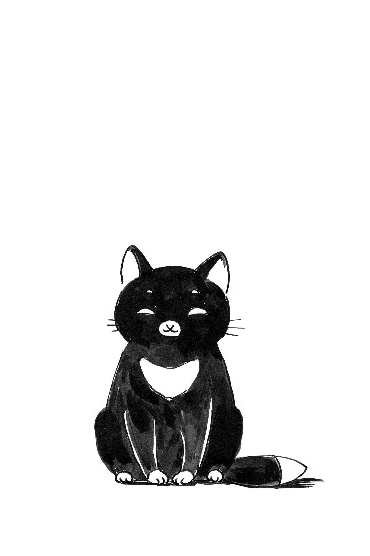 1920x2880 Black Cat Drawing