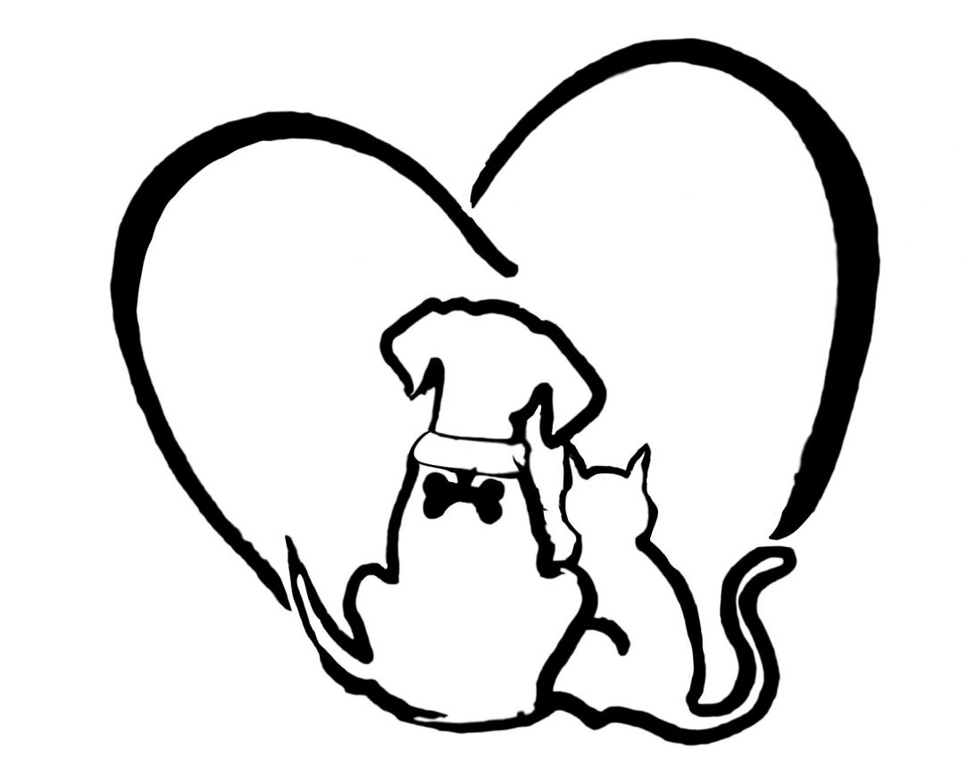 1084x857 Simple Dog And Cat Drawing Free Line Drawings Cute Love Anime I