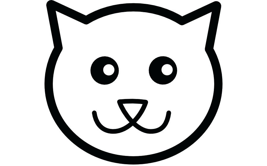 900x560 Cat Face Drawing Simple Cat Face Line Drawing