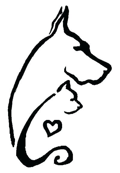 400x577 Outline Of Cat Outline Cat Tattoo On Back Outline Dog And Cat