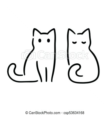 450x470 Simple Cat Drawings Outline Simple Cat Line Drawings Zupa