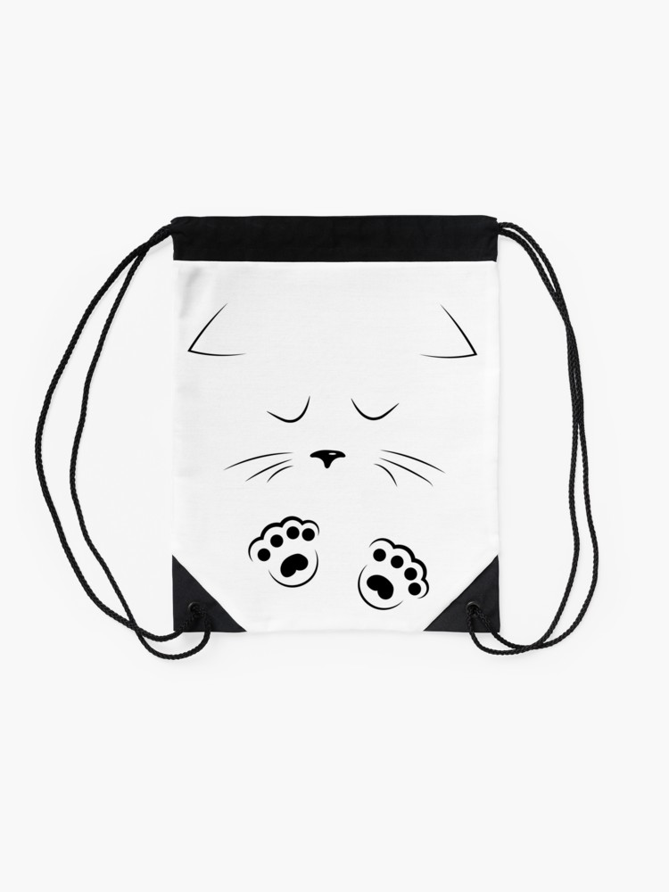 750x1000 Black Outline Drawing Sad Cat Face With Paws Drawstring Bag