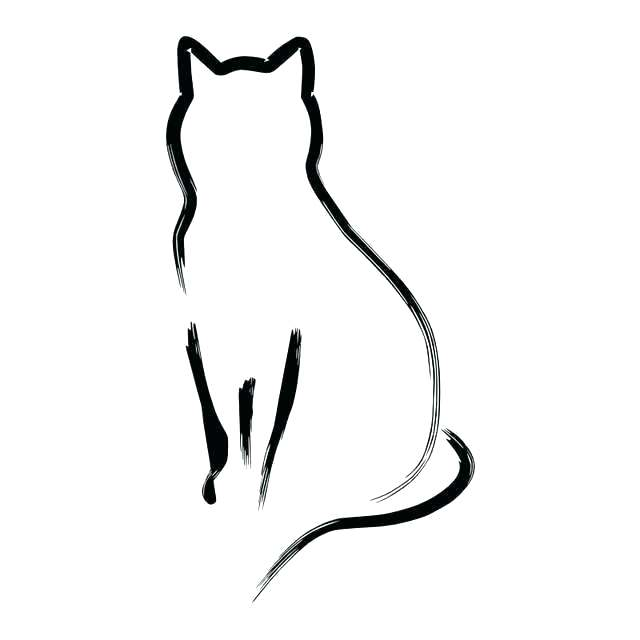 640x640 Cat Drawing Outline