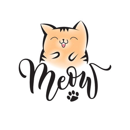 450x450 Vector Black Lettering Meow With Cute Smiling Cat And Cat Paw