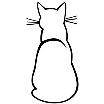 350x350 Cat Silhouette Sitting Kitty Vinyl Decal Window