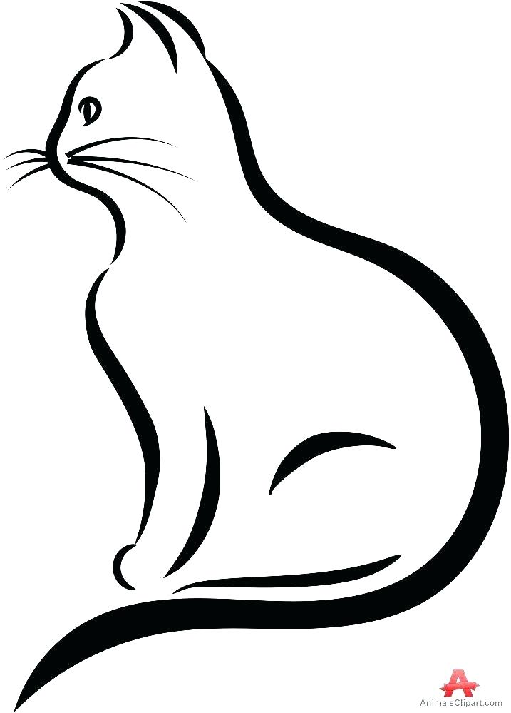 717x999 Outline Cat Tattoo On Back Outline Dog And Cat Tattoo Design Cute