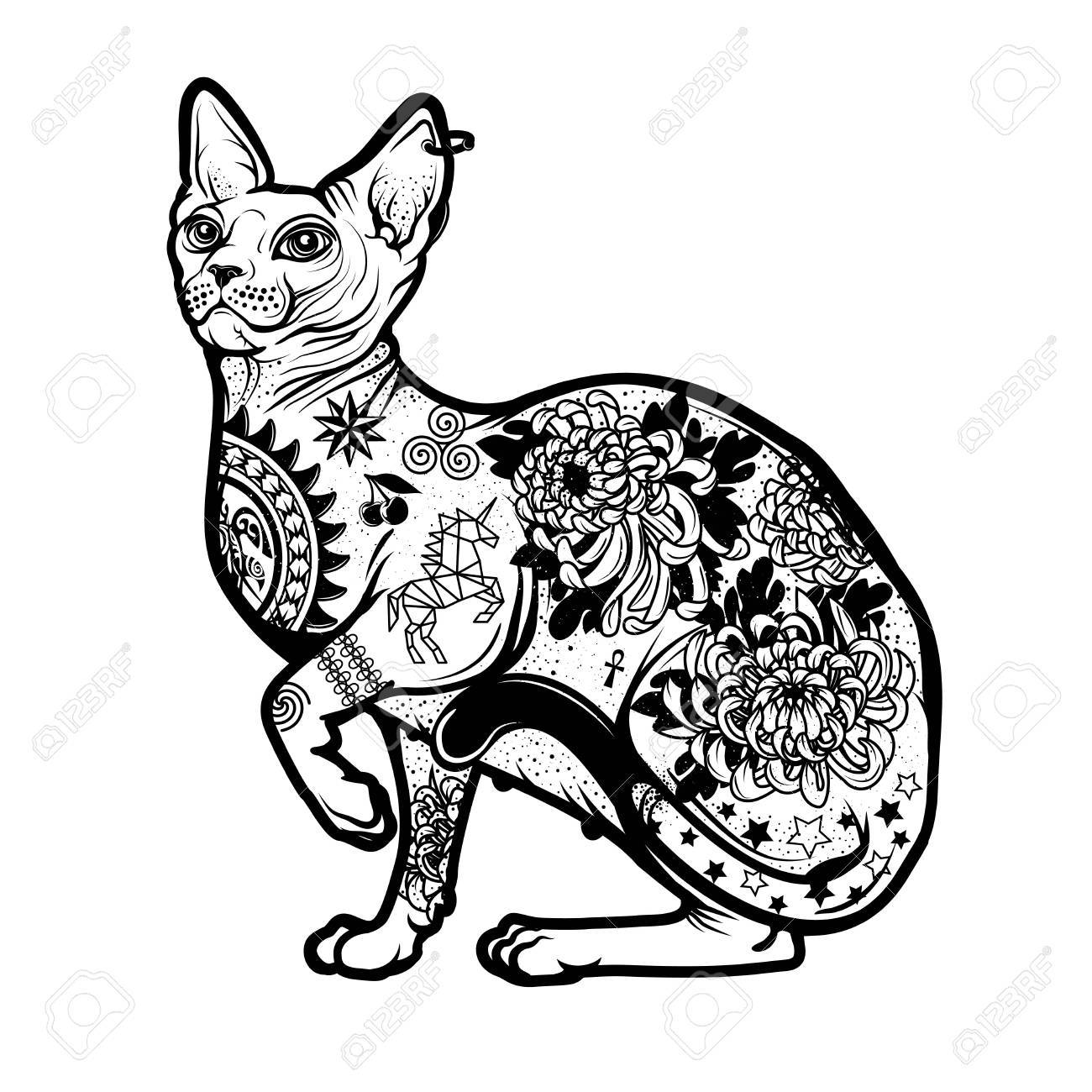 1300x1300 Vintage Cat Tattoo Design Royalty Free Cliparts Vectors And Stock
