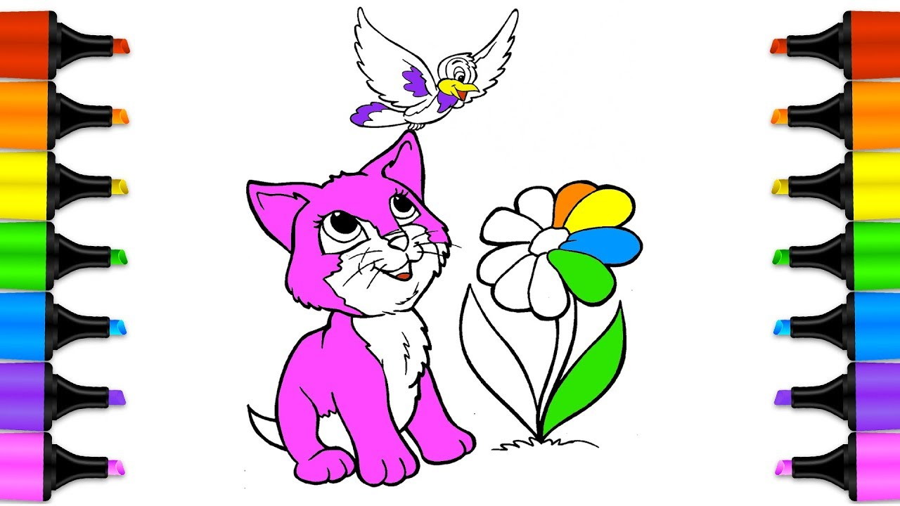 1280x720 How To Draw A Cat And Bird Drawing Animals From Word Coloring