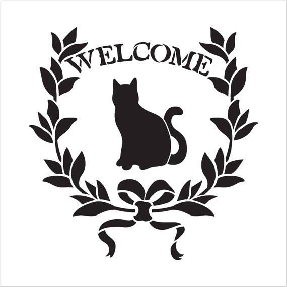 570x570 Welcome Cat Word Art Stencil Select Size