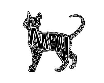 340x270 Cat Word Art Etsy