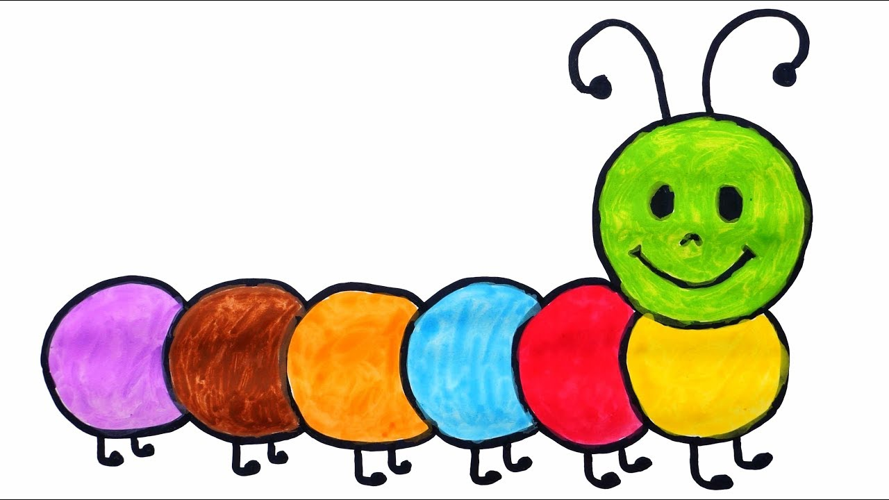 1280x720 how to draw and color caterpillar for kids caterpillar coloring