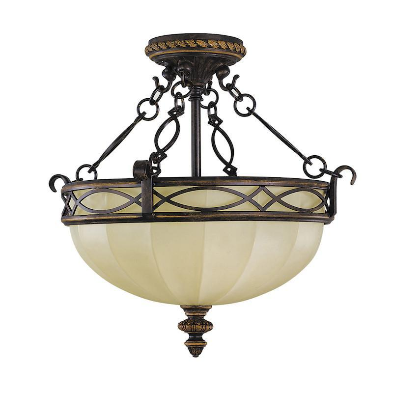 800x800 Elstead Feiss Drawing Room Semi Flush Chain And Bowl Ceiling Light