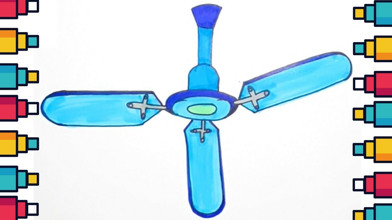 1280x720 How To Draw Ceiling Fan Step