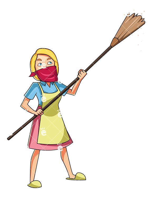 585x755 A Woman Dusting The Ceiling Ppp Women, Ceiling, Clip Art