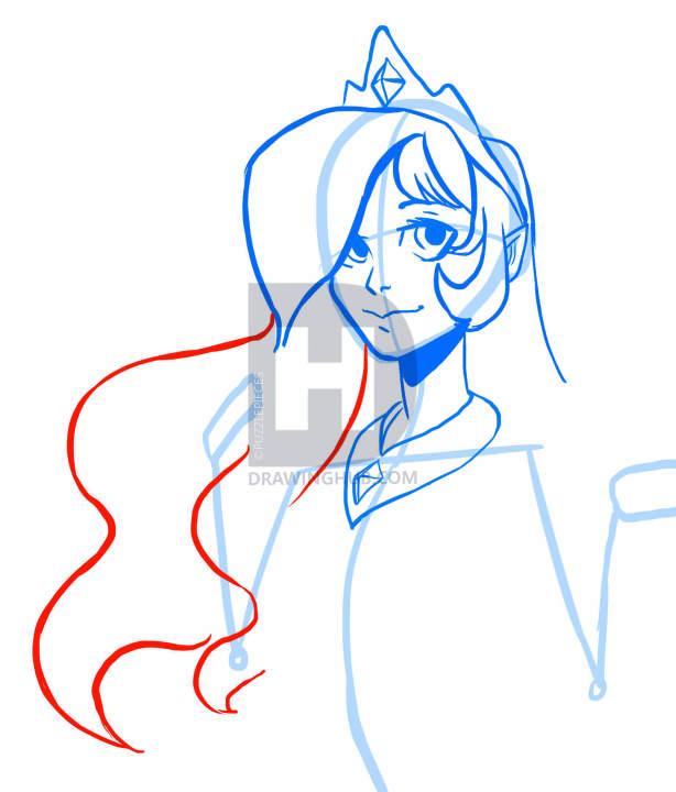 614x720 How To Draw Human Princess Celestia, My Little Pony, Step