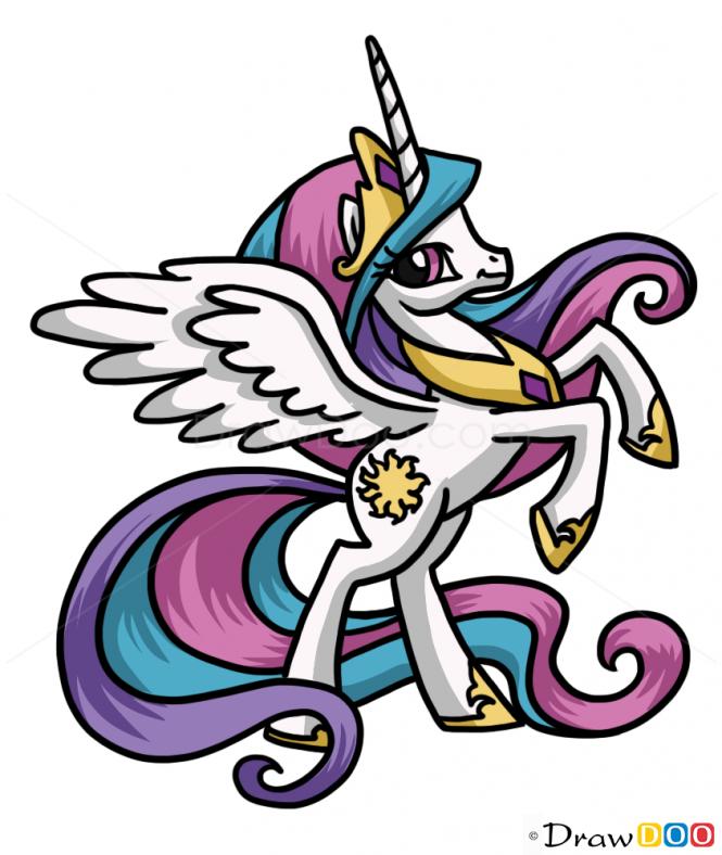665x788 How To Draw Celestia, My Little Pony