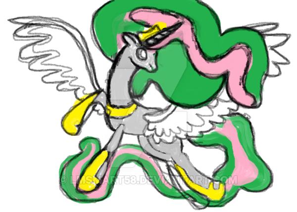 600x429 Uncomplete Princese Celestia Ms Piant Drawing