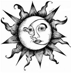 Celestial Sun And Moon Drawing