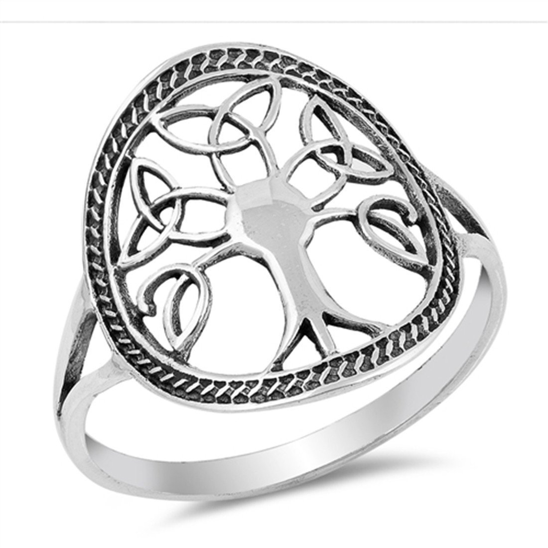 1100x1100 Celtic Tree Of Life Band Ring Sterling Silver Simple Plain