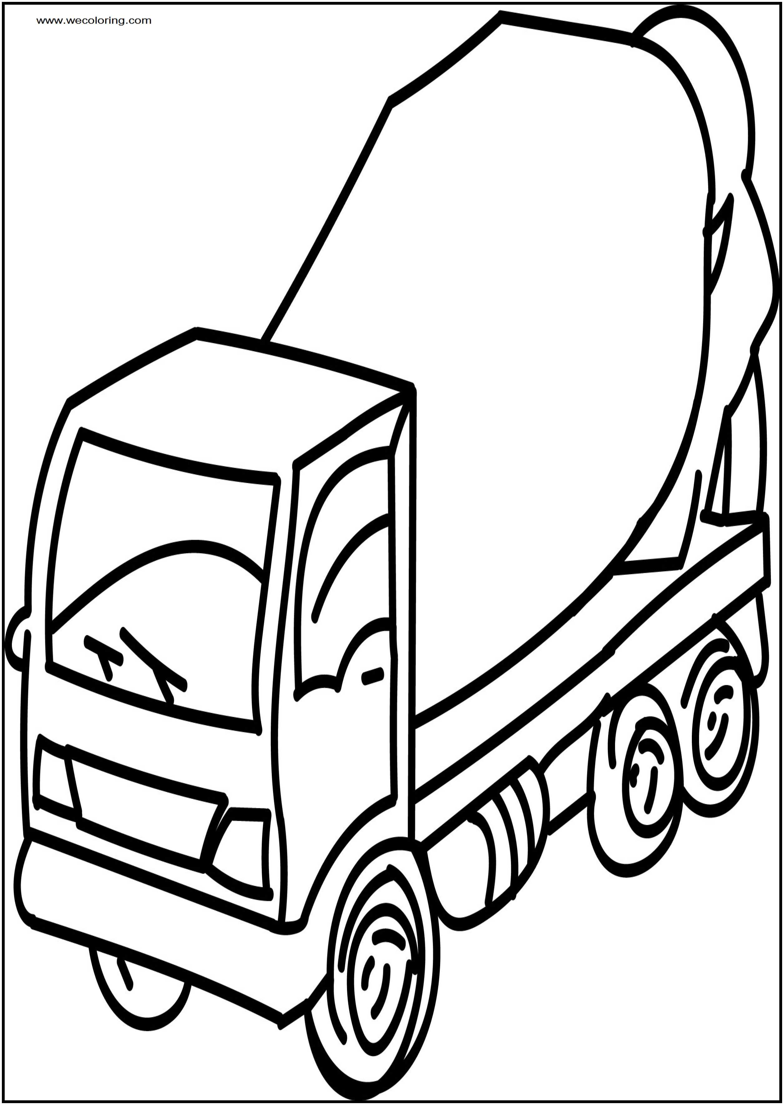 2510x3538 Cement Truck Go Free Printable Coloring