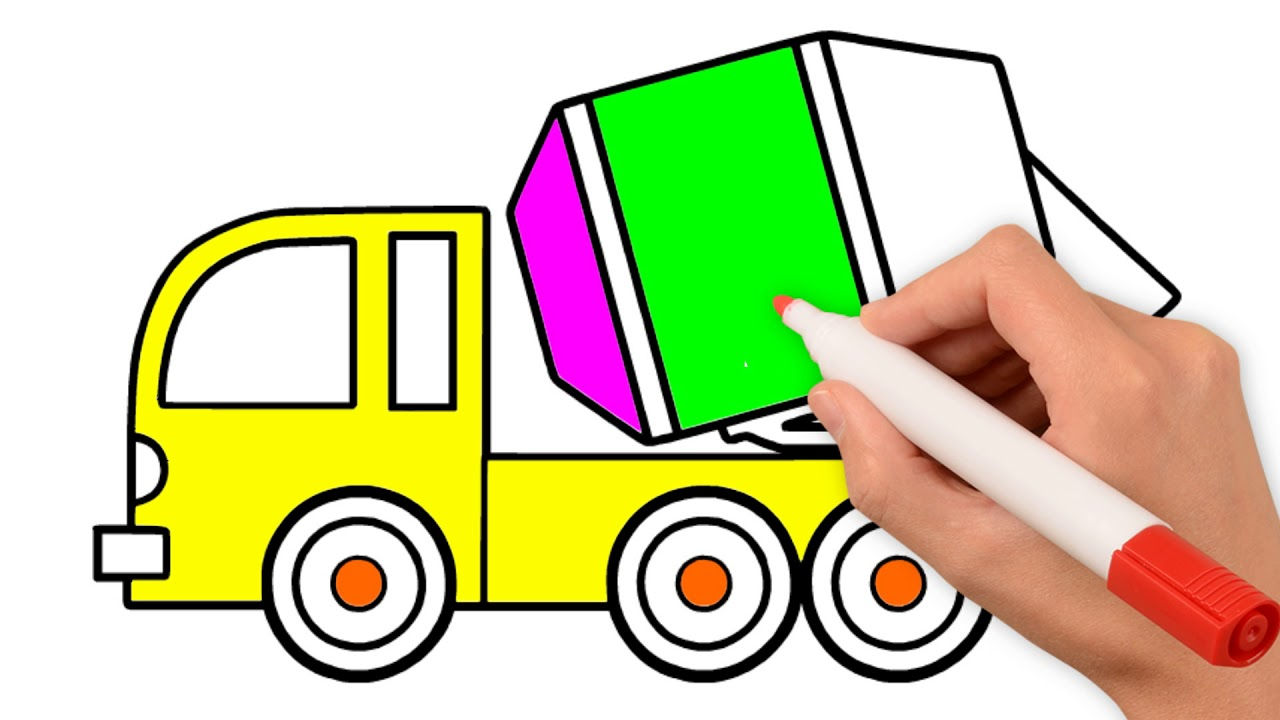 1280x720 Easy Draving Cement Truck Learn Colors For Kids Coloring