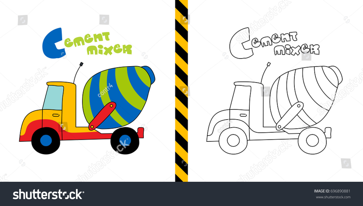 1500x850 How To Draw Cement Mixer Truck Coloring Pages Kids Learn Drawing