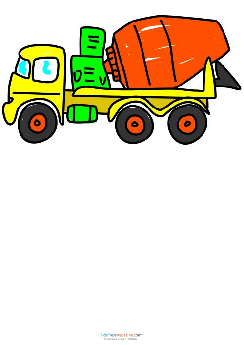 500x706 Learn To Draw Construction Equipment Cement Truck Drawing