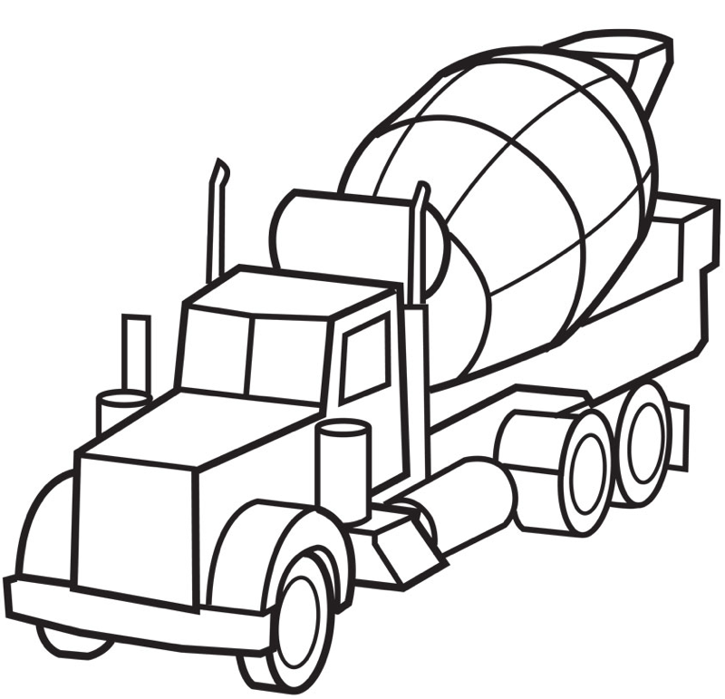 800x771 Cement Mixer Coloring Page