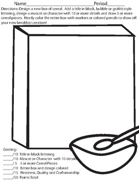 270x350 Cereal Box Design Worksheets Teaching Resources Tpt